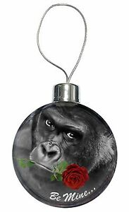 'Be Mine' Gorilla with Red Rose Christmas Tree Bauble Decoration Gift, AM-10RCB