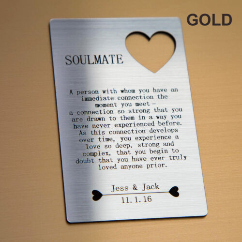 I Love You Anniversary Gifts For Him//Her Personalised Soulmate Wallet Insert