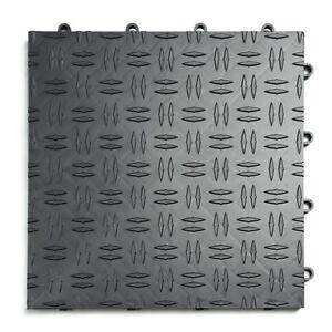 GarageTrac in GRAPHITE - 24 Pack  -Diamond Garage Floor Tile MADE IN THE USA