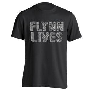 Flynn-Lives-Retro-Funny-Tron-Gamer-Humor-Movie-Black-Basic-Men-039-s-T-Shirt