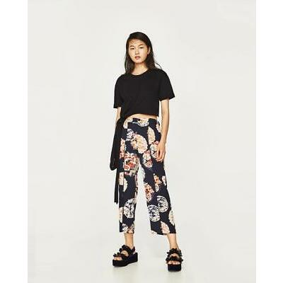 BNWT ZARA NAVY BLUE TROUSERS WITH ORIENTAL PRINT  s.S and M  REF.2108/201