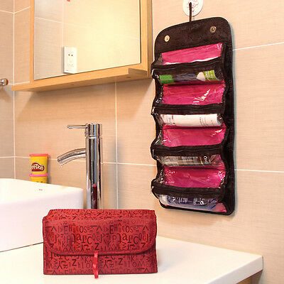 Women Portable Cosmetic Roll Up Foldable Organizer Case Travel Toiletry Bag .