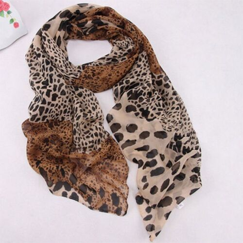 Donne Moda Donna Stampa Animale Leopardo Marrone Sciarpa Scialle Uk