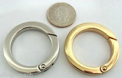 """Two 1.65"""" O.D. Nickel / Gold Flat Spring Gate Shoulder Bag Strap Extender Rings"""