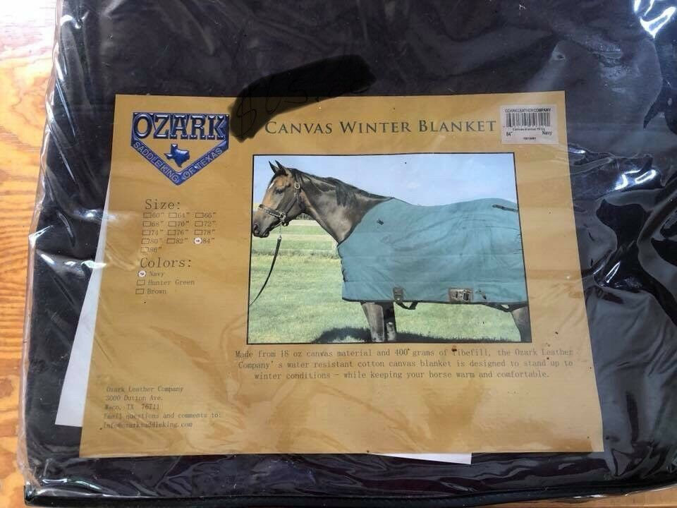 "New Ozark Learher Canvas Winter Horse Blanket Size 84"" Navy bluee"