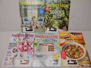 5 Southern Living Magazine LOT Home Decor 2018 January February April May August