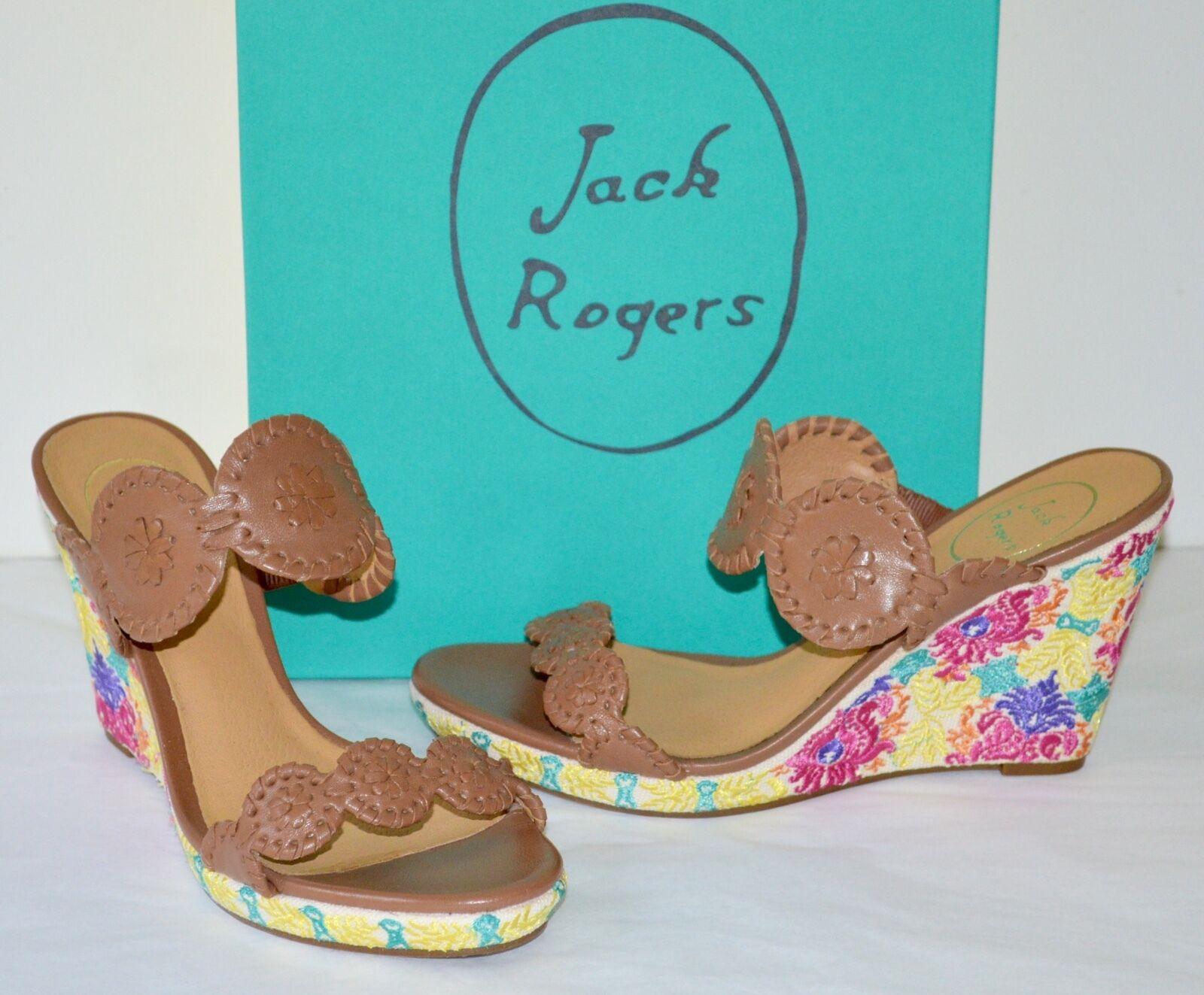 New  198 Jack Rogers Livvy Cognac Leather Wedge Crochet Flowers Sandal Slides
