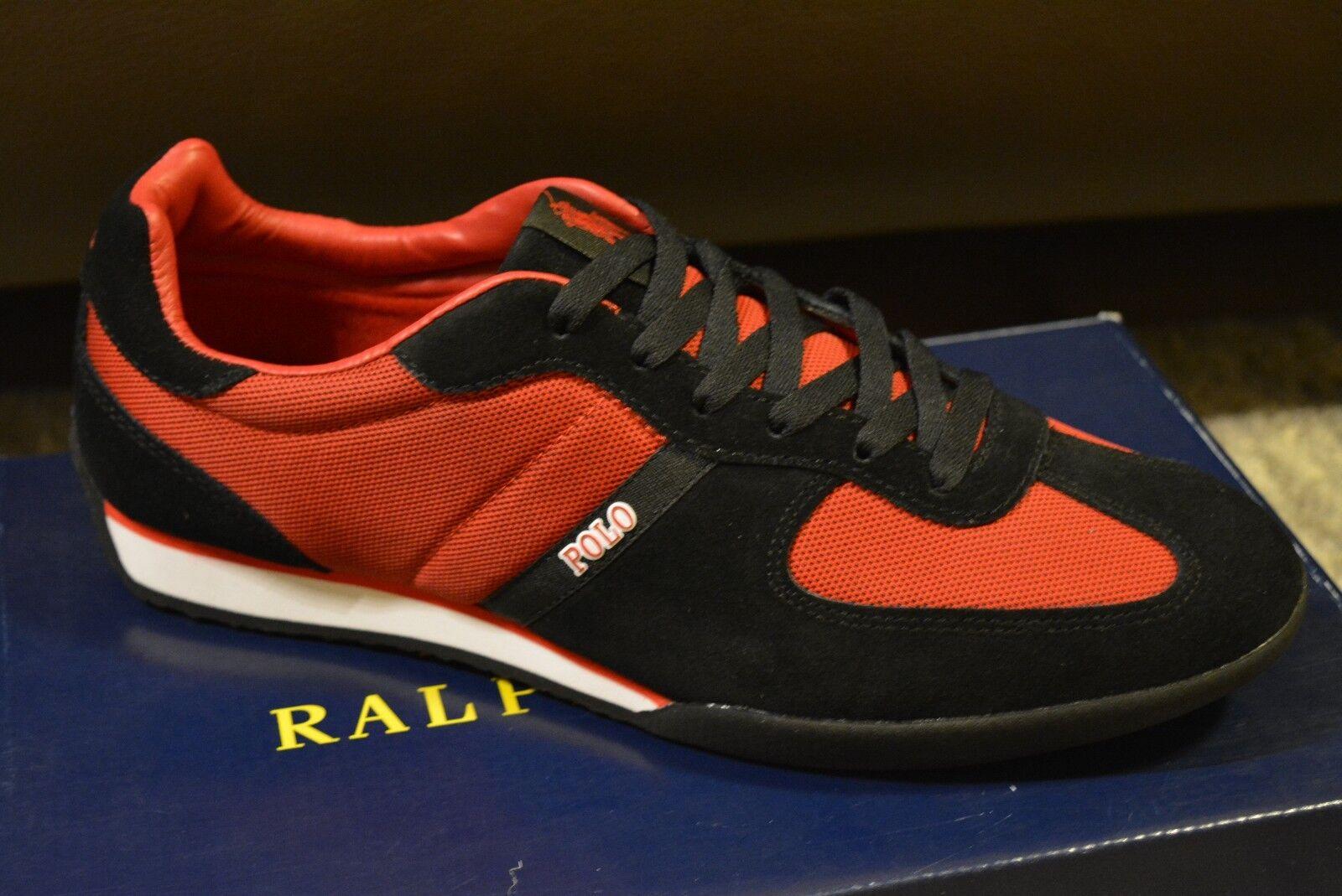 Ralph Lauren Jacory Herren Schuhe, Turnschuhe, Rot, Schwarz  Gr.44 Neu