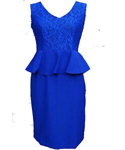 af9df93d3f9 Women Royal Knee Length Floral Lace Peplum Dress Size 10 12 14 16 18 ...
