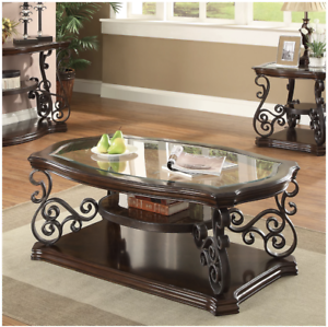 Details About New Dark Brown Wood Rustic Gl Top Coffee Table Elegant Curved Metal Shelf