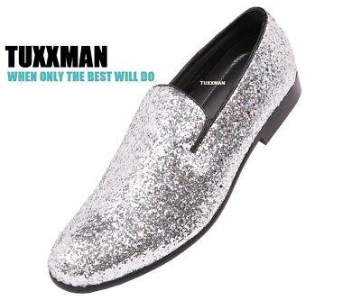 Mens Silver//Black Metallic Sparkling Two Tone Glitter Tuxedo Slip Ons TUXXMAN