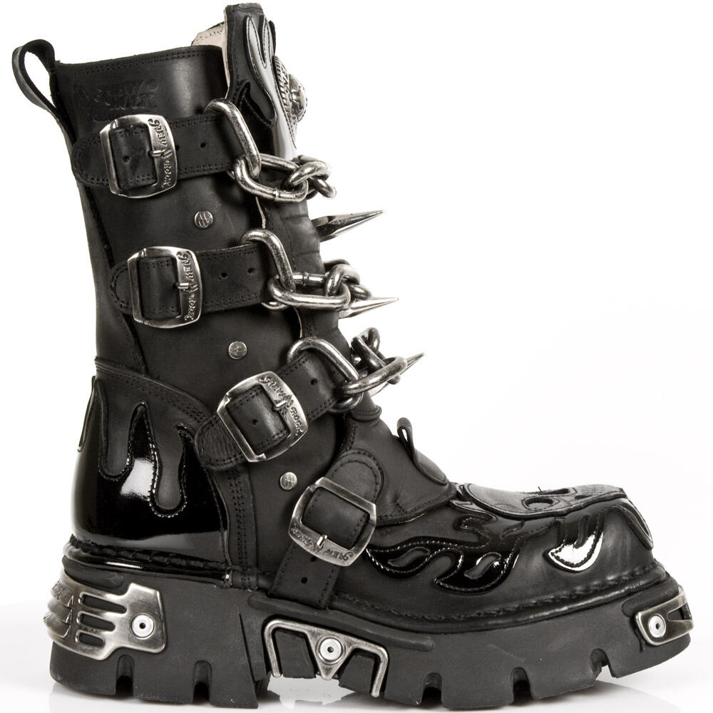 New Rock Hombre Hombre Hombre Negro Leather Skull Flame Reactor botas M.727-S1 a213ce