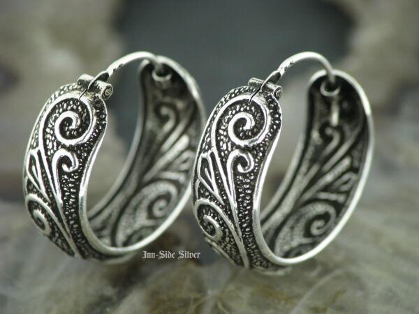 100% Wahr 1 Paar Ohrringe Creolen 925er Silber Tribal Ohrschmuck Keltisch Tattoo Style