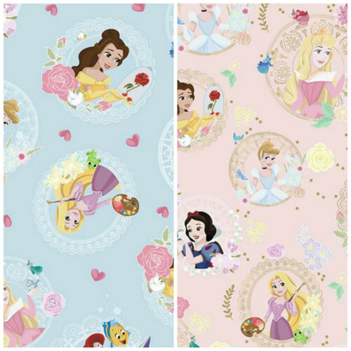 Disney Party Princess Pink Or Blue 100/% Cotton Fabrics Sold by 1//2 Metre