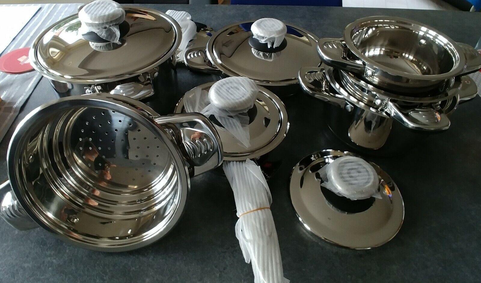 Kochtopf Set 12 tlg (für (für (für Induktion, Gas, Elektro, Glaskeramik oder Halogenplatte 432a1a