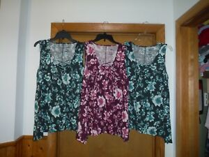Sleeveless Tops Sonoma size LG Green /& Purple Floral 65/% polyester 35/% rayon NWT