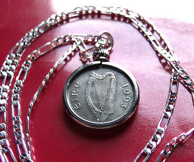 """Year 1996 Irish Lucky Coin Pendant on a 30/"""" Sterling Silver Chain."""