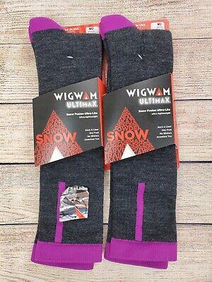 New Men's Wigwam Boot Merino Wool Socks 2 Pair Size Large Grey w// Multi #1028L
