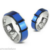 Bridal Wedding Engagement Band 2 Tone Blue Spinner 316l Stainless Steel Ring