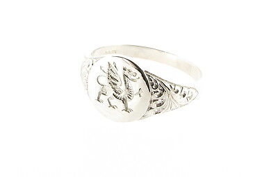 Sterling Silver Welsh Dragon Scroll Design Oval Ring - Made in the UK RRP £32.99