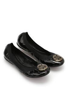 79bd216e6b99 NIB Tory Burch Caroline Naplak Elastic Black Patent Leather Ballet ...