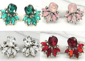 Fashion-Ancient-Gold-Elegant-Glass-Crystal-Rhinestone-Ear-Stud-Tassel-Earrings