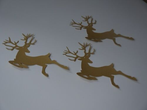 10 GOLD REINDEER Die Cuts Embellish Scrapbook Hanging decoration Christmas Craft