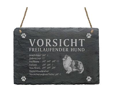 KöStlich Schiefertafel « Sheltie - Vorsicht - Freilaufender Hund » Schild Garten Sheepdog Reinigen Der MundhöHle.