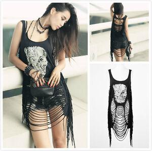 Punk-Rave-PT-009-Women-039-s-Black-Gothic-Punk-Skull-Print-Ripped-Tassel-Tank-Top