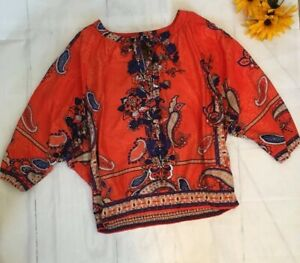 MULTIPLES-Size-Large-Orange-Blue-Cold-Shoulder-BOHO-Shirt-Top-EUC-b