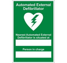 AED DEFIBRILLATOR SIGN - NEAREST LOCATION -RIGID PLASTIC - 20CM X 30CM - A4 SIZE