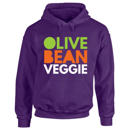 Adults I Love Being Veggie Hoodie Olive Bean Meat Free Diet Mens Ladies Hooded