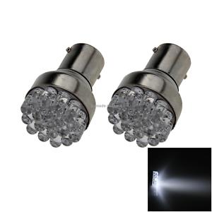 2x White RV 1157 Brake Blub Tail Lamp 19 Emitters In-line LED 1152 P21//5W E027
