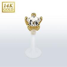 Star CZ 14K Yellow Gold with PTFE Flexible Bar Lip Piercing Labret Monroe Stud