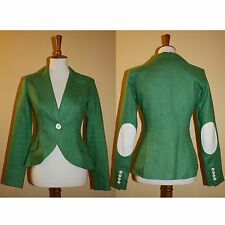 RTL $595! SMYTHE Elbow Patch Green LINEN BLAZER- Size 6- Lightweight!
