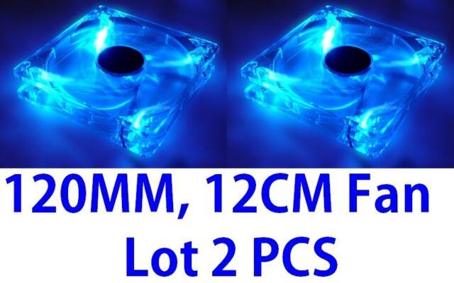 Lots 2 Blue Quad 4-LED Light Neon Clear 120mm PC Computer Case Cooling Fan Mod
