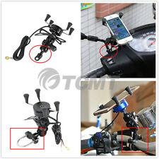 Motorcycle Bike GPS Handlebar Rail Mount X Fork Cell Phone Holder W/ USB Charger