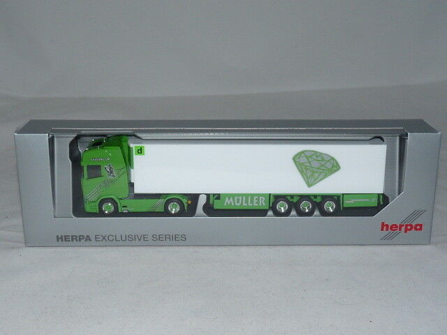 Herpa Special Model Scania CS 20 HD V8 FRIDGE SUITCASE Articulated – Muller Cristallo...