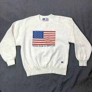 Vtg-Proud-To-Be-An-American-Flag-Sweatshirt-Medium-White-Red-Blue-Long-Sleeve