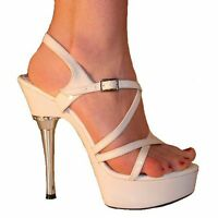 Michelle White Patent Sandals 1.5 Platform 4 Stiletto Heels Uk 8 41 C3v