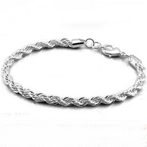Fashion-Women-Silver-Plated-Charm-4MM-Twist-Rope-Chain-Bracelet-Jewelry