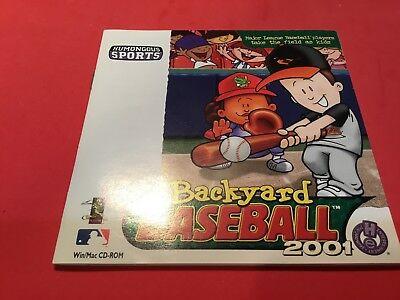 Backyard Baseball 2001 Instruction Book Only No Cd