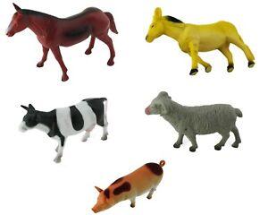 Bauernhof-Farm-Set-mit-5-Tieren-Pferd-Schwein-Bock-Esel-Kuh