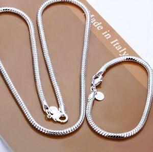 ASAMO-Damen-Herren-Schmuckset-Halskette-und-Armband-Silber-plattiert-SS1076