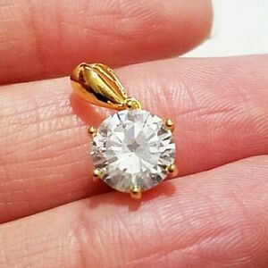 1-50-Ct-Round-Cut-VVS1-Diamond-Solitaire-6-Prong-Pendant-9K-Yellow-Gold-Over