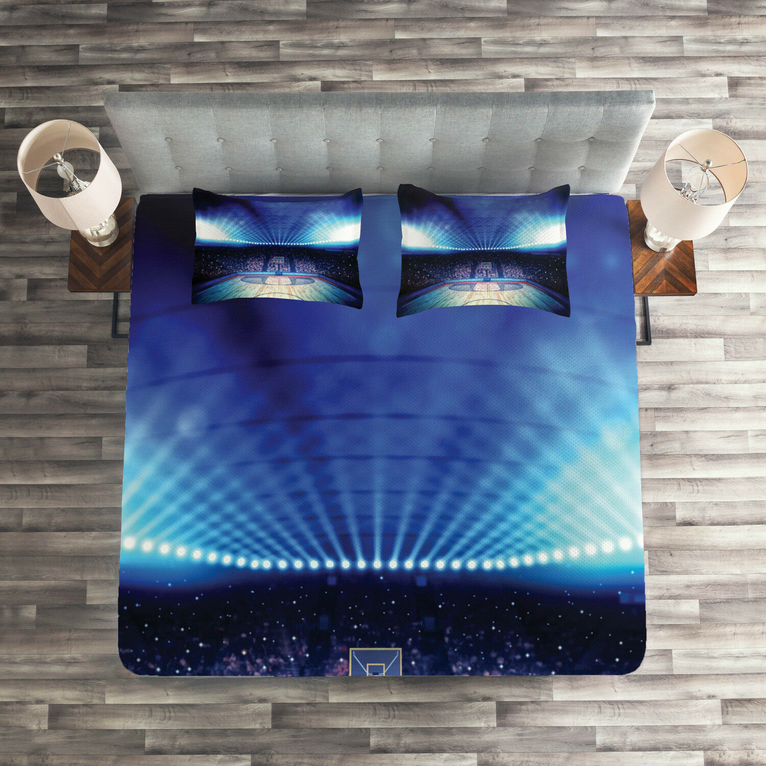 Sports Quilted Coverlet & Pillow Shams Set, Basketball Arena Game Print