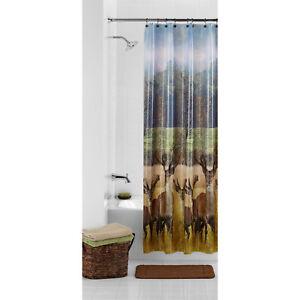 Image Is Loading PEVA Deer In Field Shower Curtain Hunting Rustic