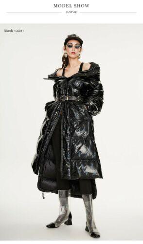 2020 Warm Womens Hooded Down Metallic Rain Resistant Extra Long Duvet Coat