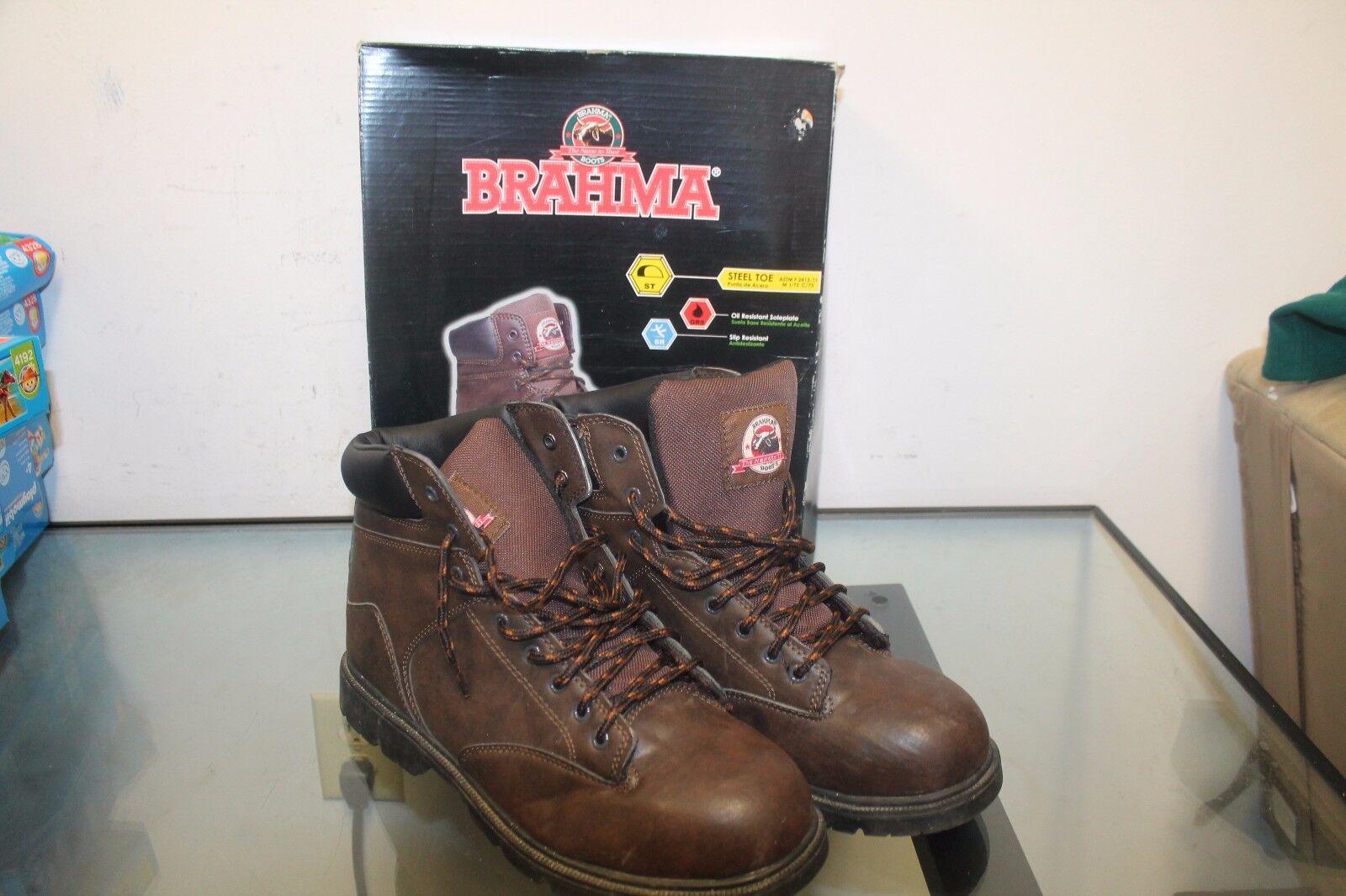 Brahma US Shoe Size 12 Men's Raid Steel Toe Work Boot Brown Slip-resistant