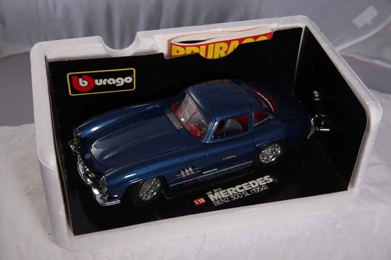 Bburago 1954 Gold Mercedes-Benz 300 SL 1 18 Diecast Car Metallic Blau